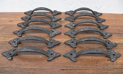 Lot Of 12 Dimpled Fancy Cast Metal Matte Black 4.5 In Drawer Cupboard Door  Handles Pulls