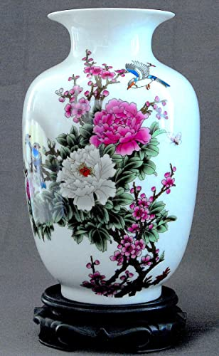 Yuyi Porcelain Vase 9 , Chinese Painting Moon, Flower and Bird Pattern, Famille Rose Porcelain, Home D cor, Oriental Craftwork, Color White, Pink, Purple, Green, Blue, China vase, Oriental Style