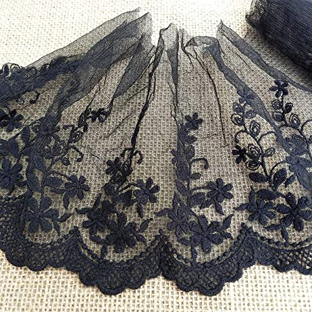 "80mm//3.25/"" Pretty Black Floral Design Nottingham Gathered Lace Trim Sewing//Craft"