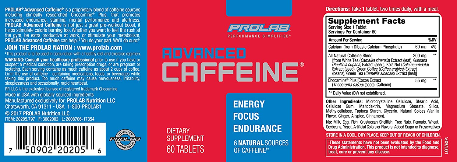 PROLAB Advanced Caffeine Tablets, 60-Count: Health & Personal Care