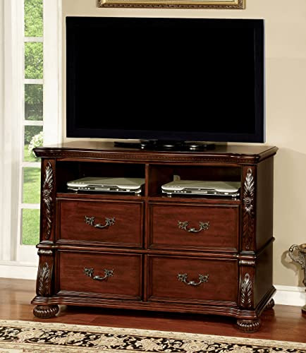 Furniture of America Caldara Traditional Media Chest, Brown Cherry