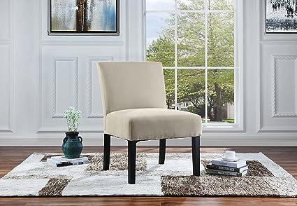 Modern Sleek Linen Fabric Living Room Accent Chair Dining Beige