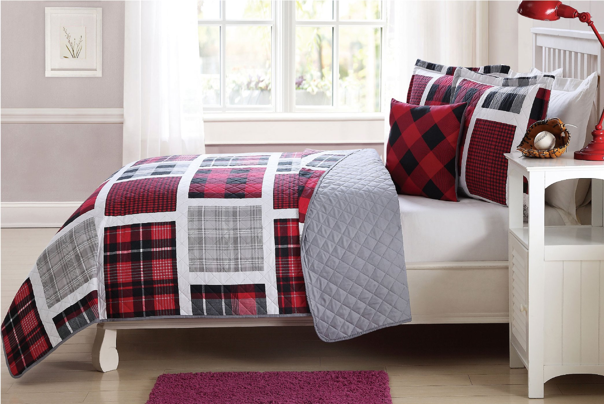 Sapphire Home 5pc Kids Teens Twin Bedspread Quilt Set with Matching Curtains Panels 84'' Length, Gray Red Black Plaid Coverlet for Boys Girls, Twin Plaid Quilt by Sapphire Home