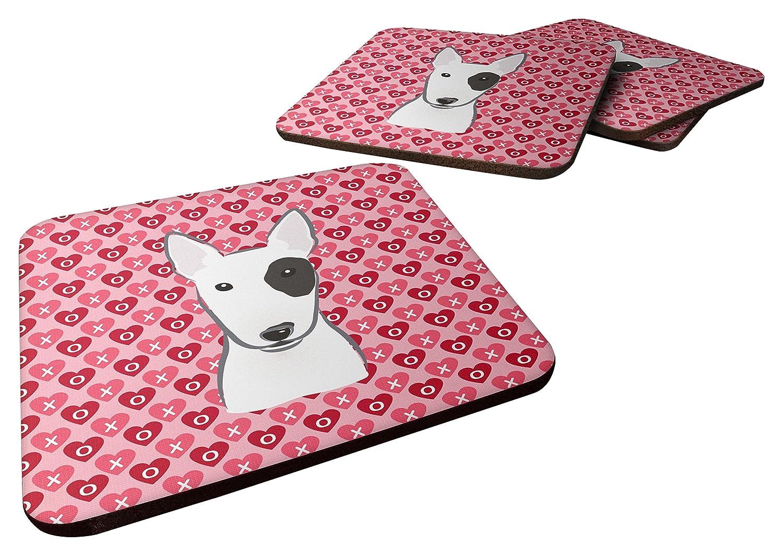 Caroline's Treasures Bull Terrier Hearts Foam Coaster Set of 4, 3.5, Multicolor