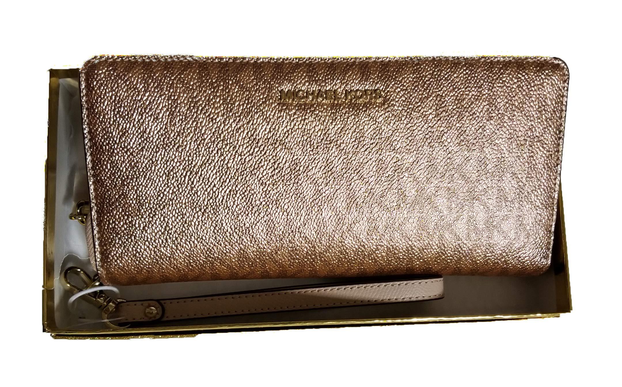 Michael Kors Womens Travel Continental Money Pieces Logo Wristlet Wallet (Soft Pink/Rose Gold)