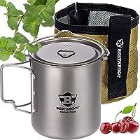 Bestargot Camping Pot Titanium Mug with Insulation Bag, Outdoor Pot for Backpacking, Camp Cooking Pot, Multi-Functional…