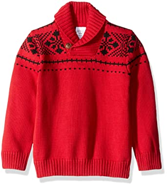 Amazon.com: Gymboree Toddler Boys' Cozy Fairisle Sweater, Red Fair ...