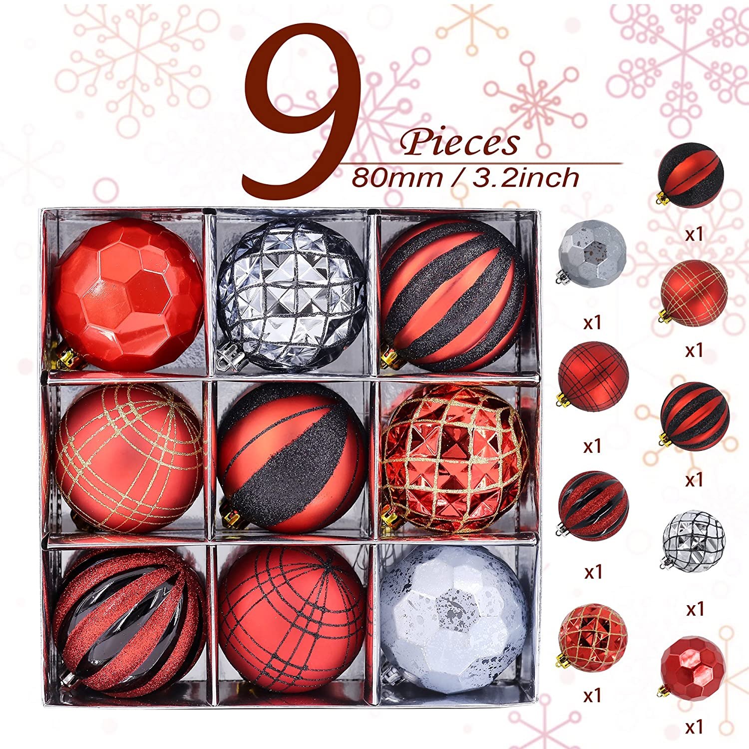 Valery Madelyn 80Mm 9 Pieces Trendy Red And Black Christmas