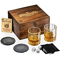 Whiskey Stones Gift Set for Men | Whiskey Glass and Stones Set with Wooden Box, 8 Granite Whiskey Rocks Chilling Stones…