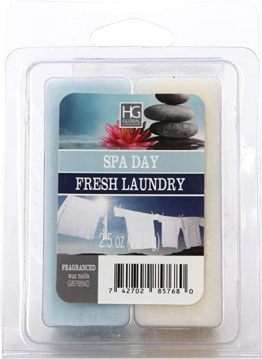 Hosley Dual Pack Tranquil Spa/Fresh Laundry Wax Cubes- 2.5 oz. Hand Poured Wax Infused with Essential Oils. Ideal for Weddings, Spa, Reiki, Meditation Settings W1
