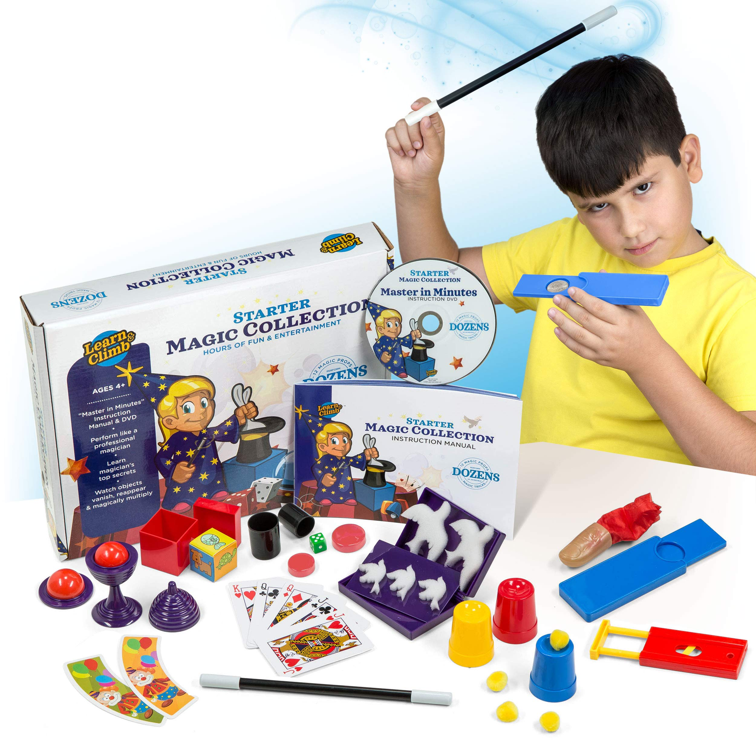 Learn & Climb Beginners Magic kit Set for Kids - Exciting Magician Tricks, Manual + Instruction DVD
