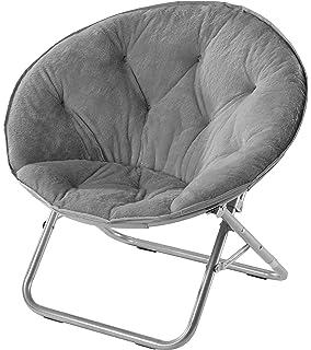 Urban Shop Faux Fur Saucer Chair, Grey, ...