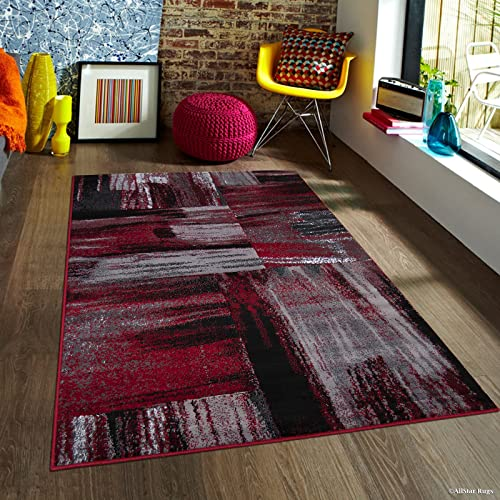 Allstar 8×10 Red and Grey Modern and Contemporary Rectangular Accent Rug with Gainsboro Grey and Charcoal Grey Abstract Bidirectional Brush Stroke Design 7 9 x 9 8