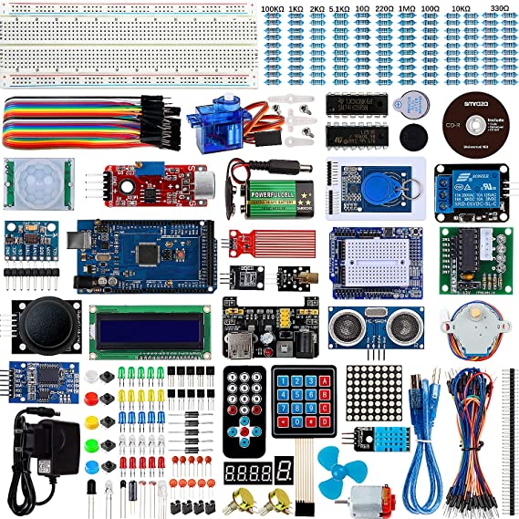 Smraza Complete Starter Kit for Arduino Mega 2560 with Tutorial, LCD1602,  Motors, Sensors, Jumper Wires, 9V Battery Compatible with Arduino Mega2560