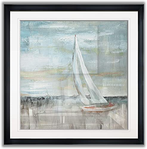 Renditions Gallery Soft Sail II Coastal Decor Painting Beach Prints Nautical Pictures Fine Giclee Blue Sailboat Wall Art Framed