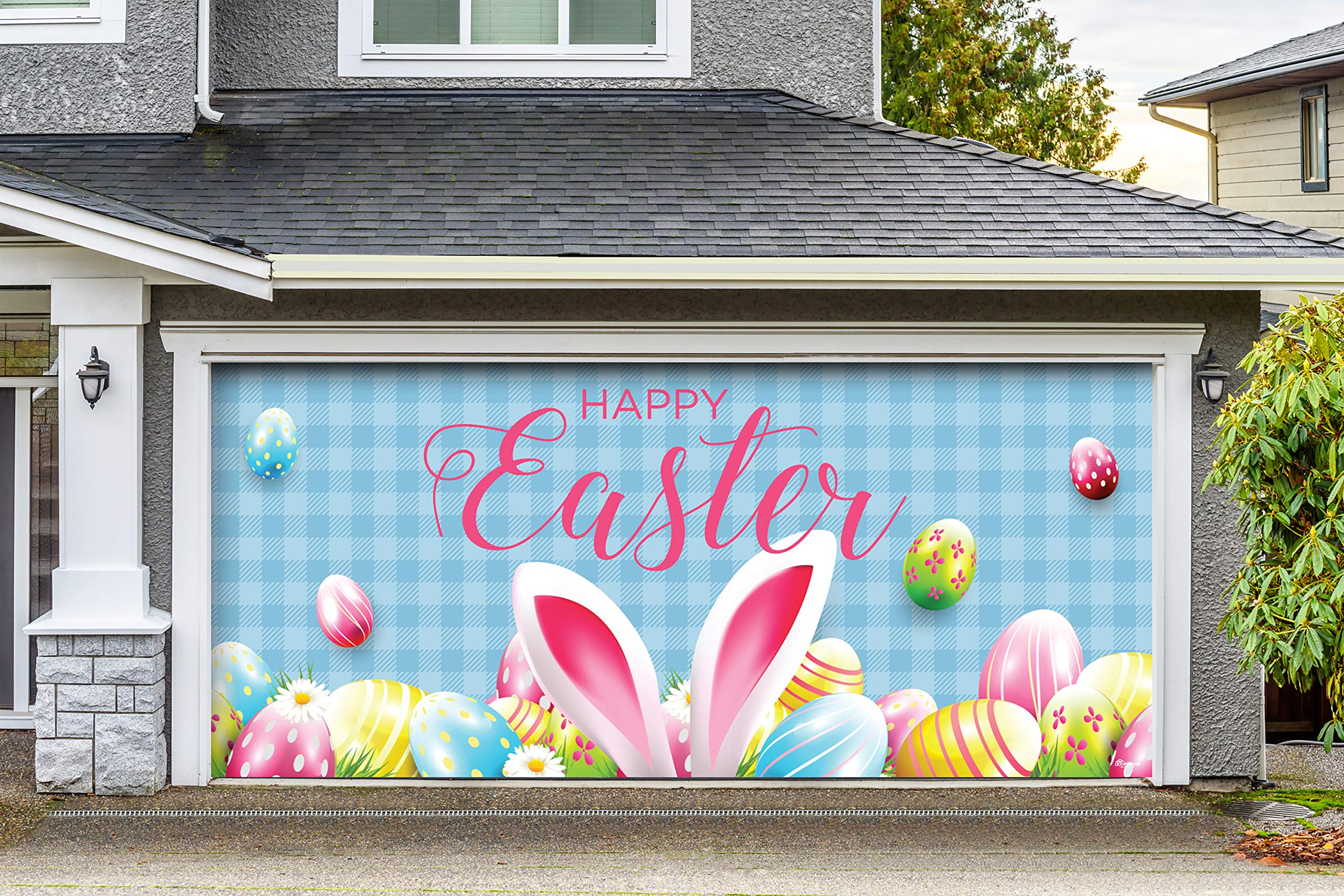 Victory Corps Happy Easter Bunny Ears - Holiday Garage Door Banner Mural Sign Décor 7'x 16' Car Garage - The Original Holiday Garage Door Banner Decor