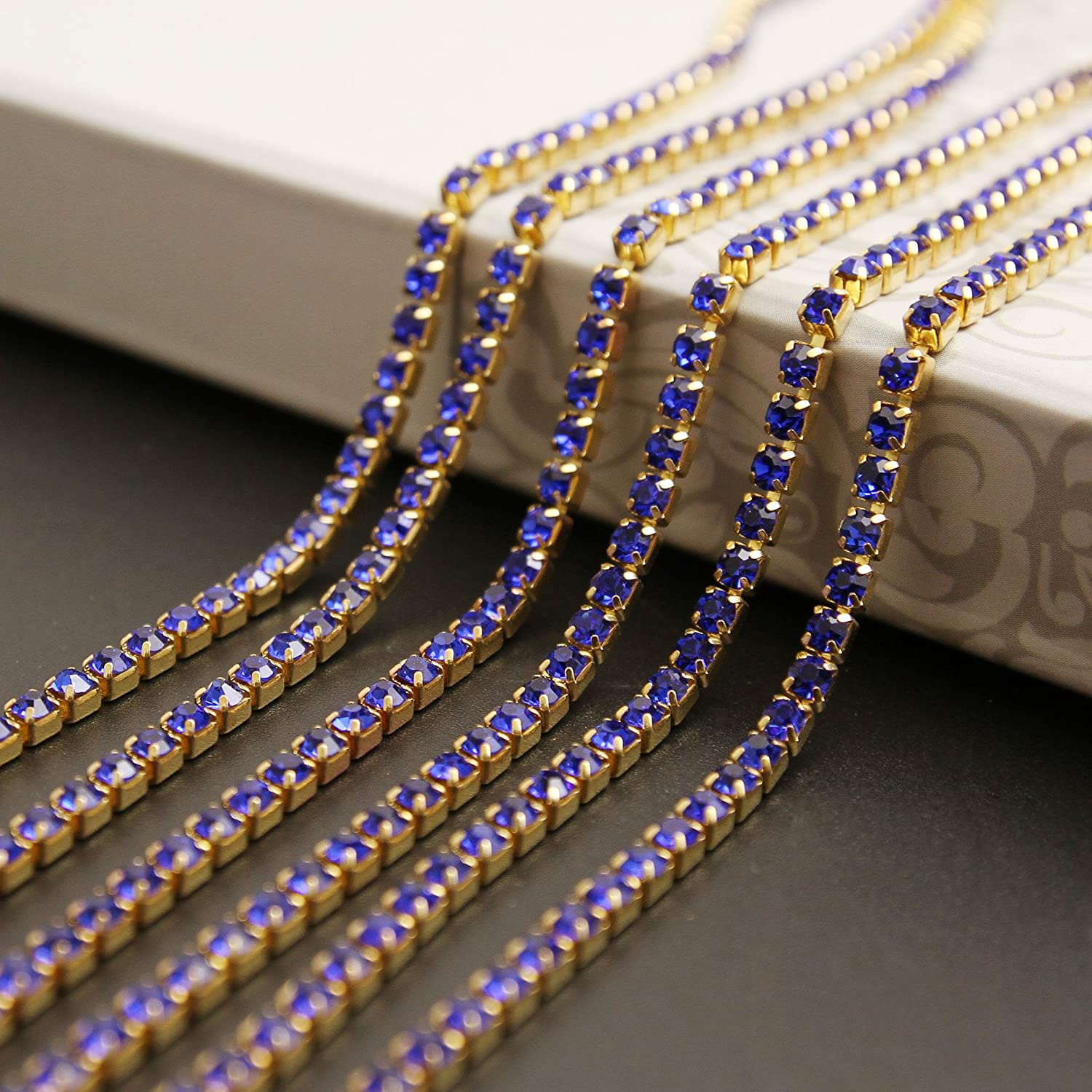 USIX 10 Yards Crystal Rhinestone Close Chain Trimming Claw Chain Multi Size Color Rhinestone Chain for DIY Arts Craft Sewing Jewelry Making SS6//2.0MM Purple-Gold Chain
