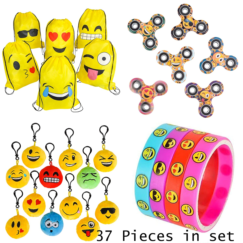 PREMIUM Emoji Party Supplies Bundle 36 Items incl. 6 Fidget Hand Spinners 6 Backpacks 12 Plush Backpack Clips 12 Rubber Bracelets 1 BONUS Item