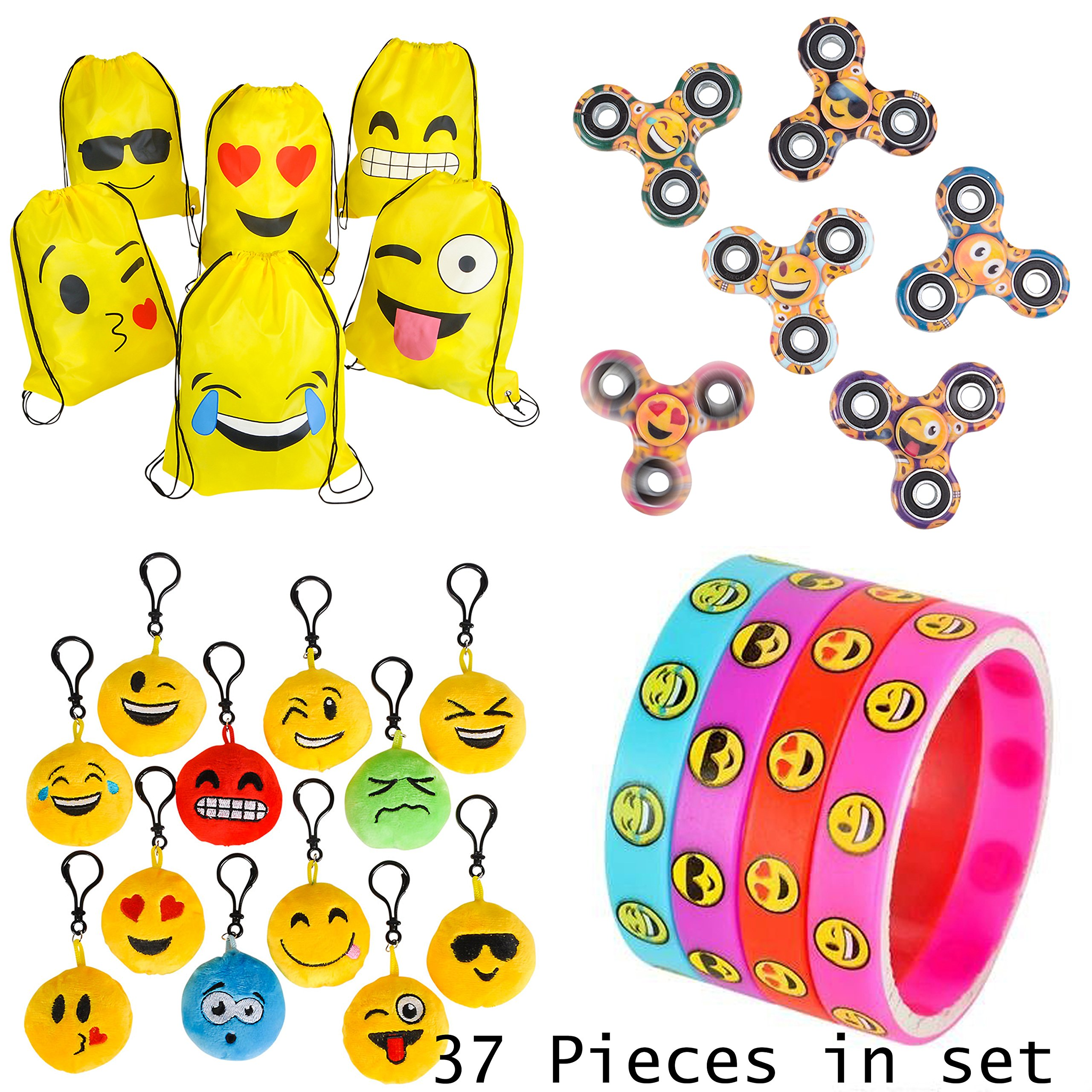 MSP Toys & Games Premium Emoji Party Supplies Bundle (36 Items incl. 6 Fidget Hand Spinners, 6 Backpacks, 12 Plush Backpack Clips, 12 Rubber Bracelets + 1 Bonus Item) by MSP Toys & Games