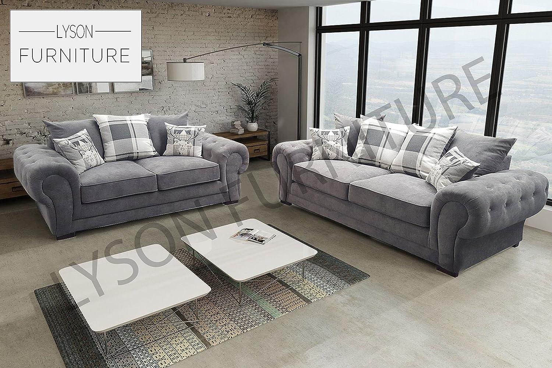 Sofá de tela, Verona, estilo Chesterfield, gris, 3 Seater ...
