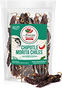 Dried Chipotle Morita Chile Peppers 5 oz – Robust Smokey Flavor, Use For Mexican Recipes, Mole, Sauces, Tamales, Salsa, Meats, Stews. Medium to High Heat - Resealable Bag. By Amazing Chiles and Spices