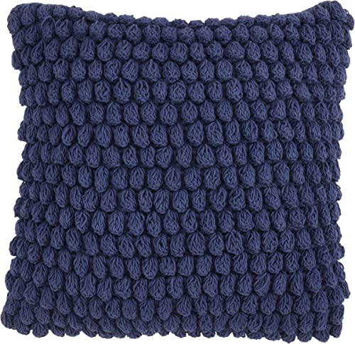 SARO LIFESTYLE Camargue Collection Crochet Pom Throw Pillow with Down Filling, 20 , Navy Blue