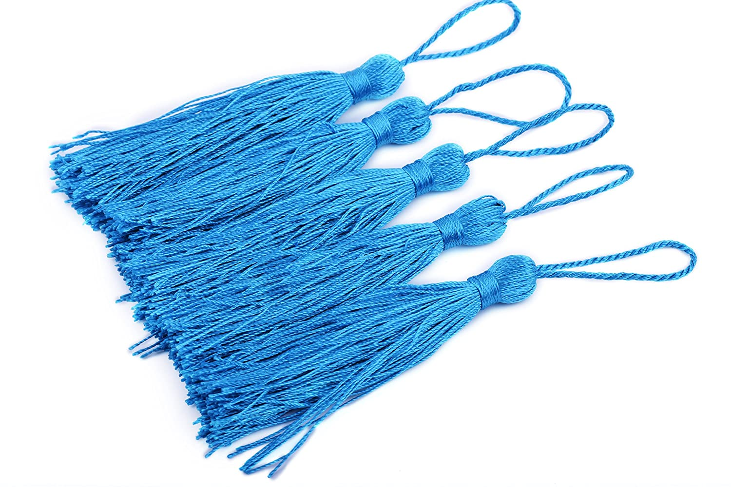 3.5 Soft Craft Mini Tassels with Loops for Bookmarks Jewelry Making Decoration DIY Projects Apple Green KONMAY 20pcs Silky Handmade Tiny