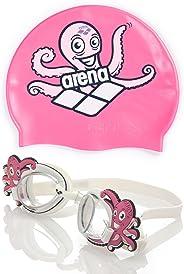 Kit Touca + Óculos de Natação Polvo Rosa Octopus Arena