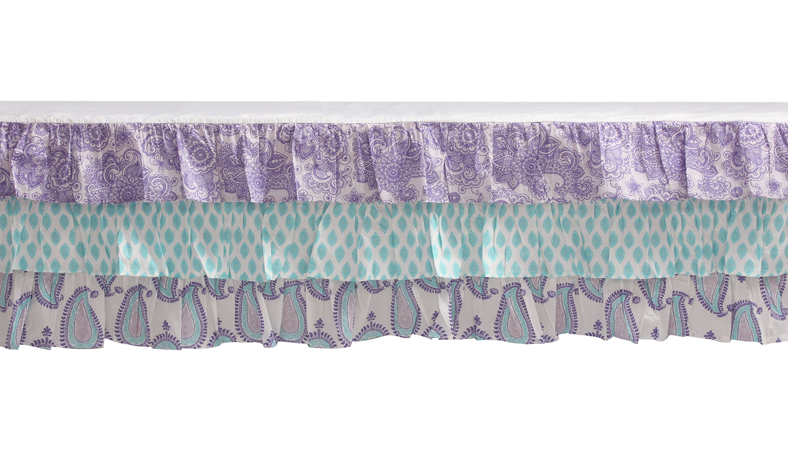 Bacati Isabella Girls Paisley 6 Piece Crib Set with Diaper Stacker, Lilac/Purple/Aqua