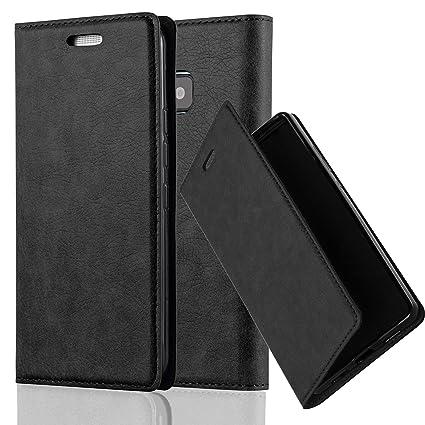 Cadorabo Hülle für HTC ONE M9 (3.Gen.) - Hülle in Nacht SCHWARZ – Handyhülle mit Magnetverschluss, Standfunktion und Kartenfa