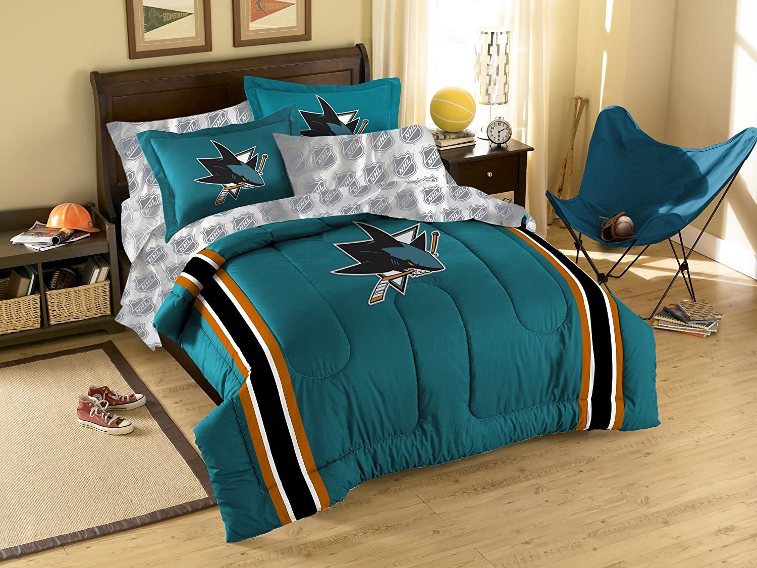 Nhl San Jose Sharks Twin Full Size Comforter With Sham Set Amazon In Sports Fitness Outdoors