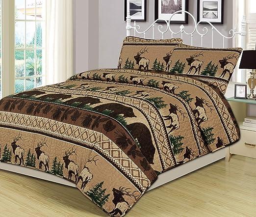 Rustic Bear Moose QUILT /& SHAMS Lodge Log Cabin Bedding Twin Full Queen King