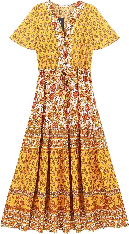 Peasant Dresses & Prairie Dresses R.Vivimos Womens Short Sleeve Floral Print Summer Dress Casual Boho Midi A Line Dress $31.99 AT vintagedancer.com