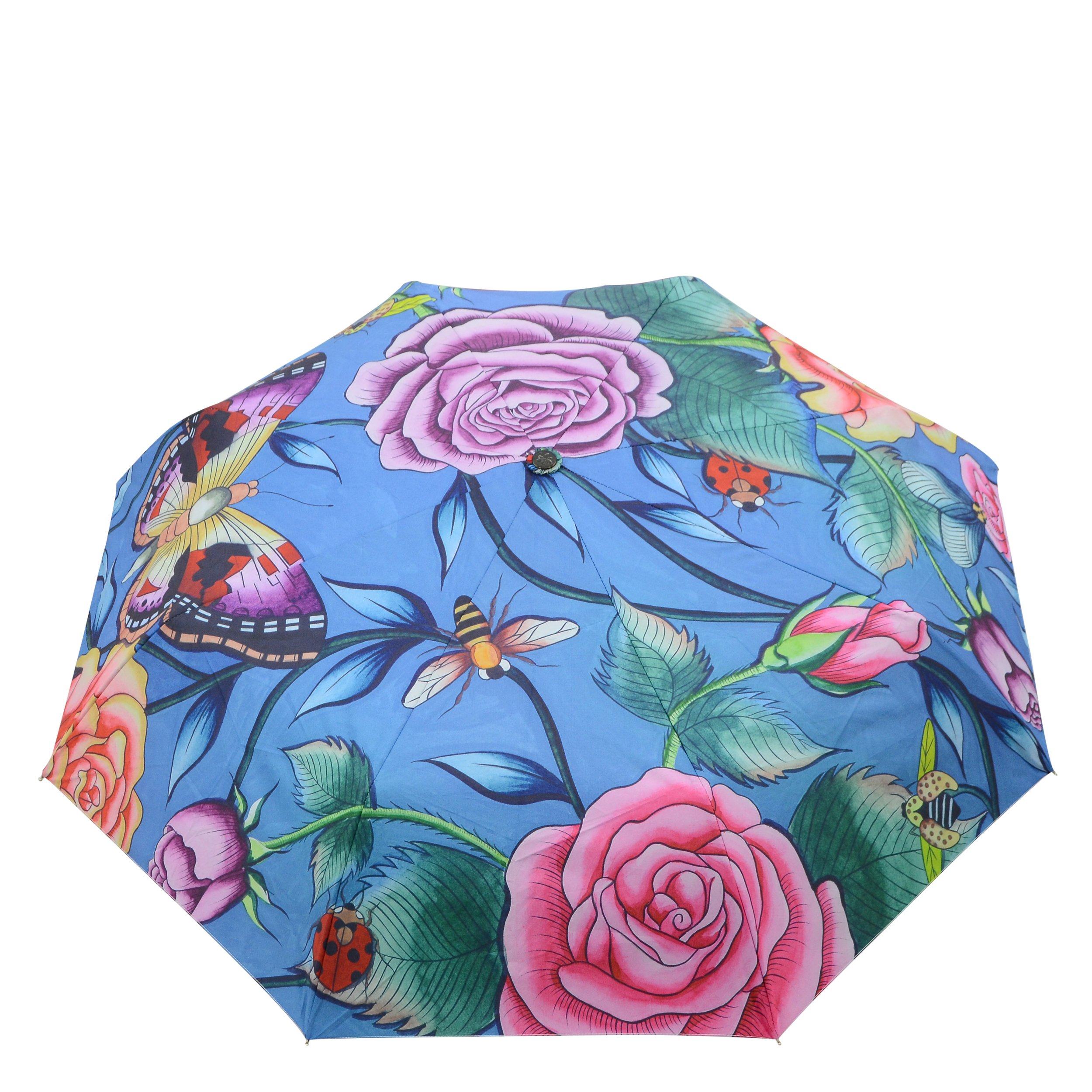 Anuschka Umbrella AUTO Open/Close | UPF 50+ Max Sun protection | 38'' Waterproof Canopy | Fits in Handbag | Windproof Flexible Fiberglass | Roses D'Amour