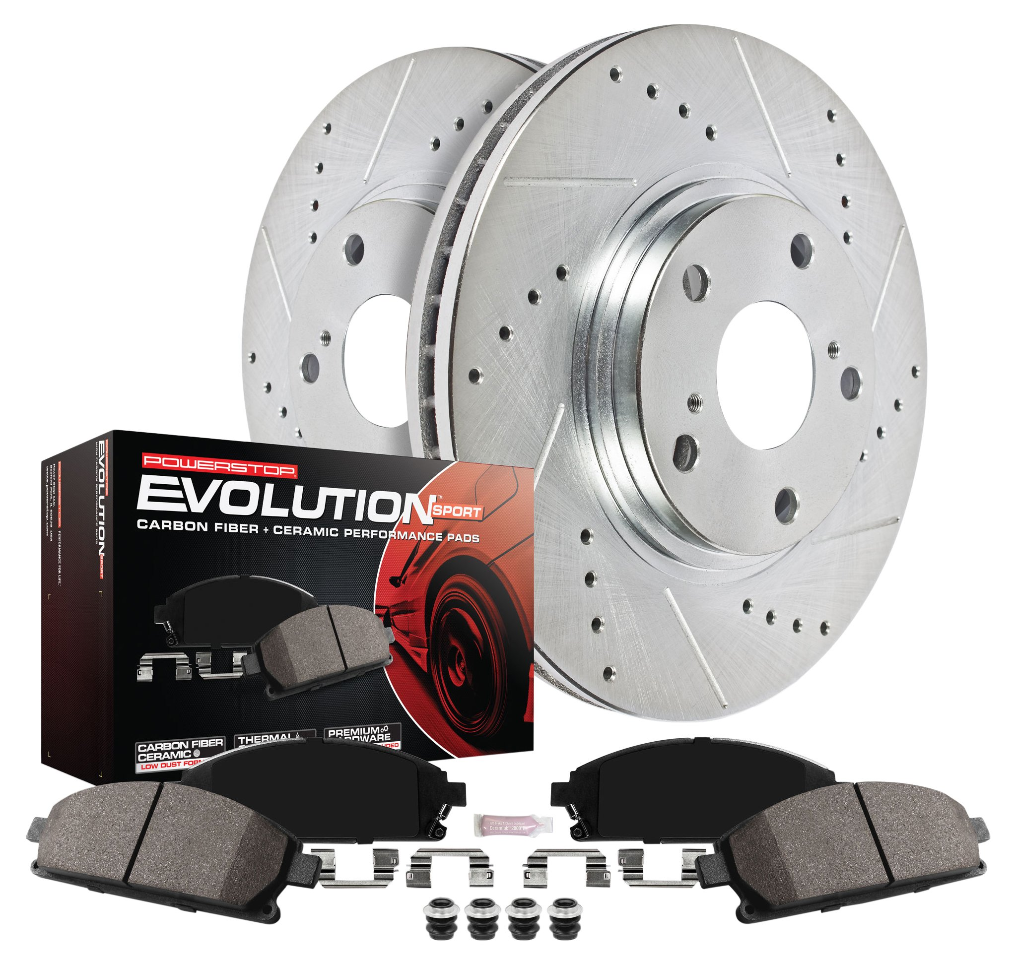 Power Stop K6035 Rear Z23 Evolution Brake Kit with Drilled/Slotted Rotors and Ceramic Brake Pad, 1 Pack by Power Stop