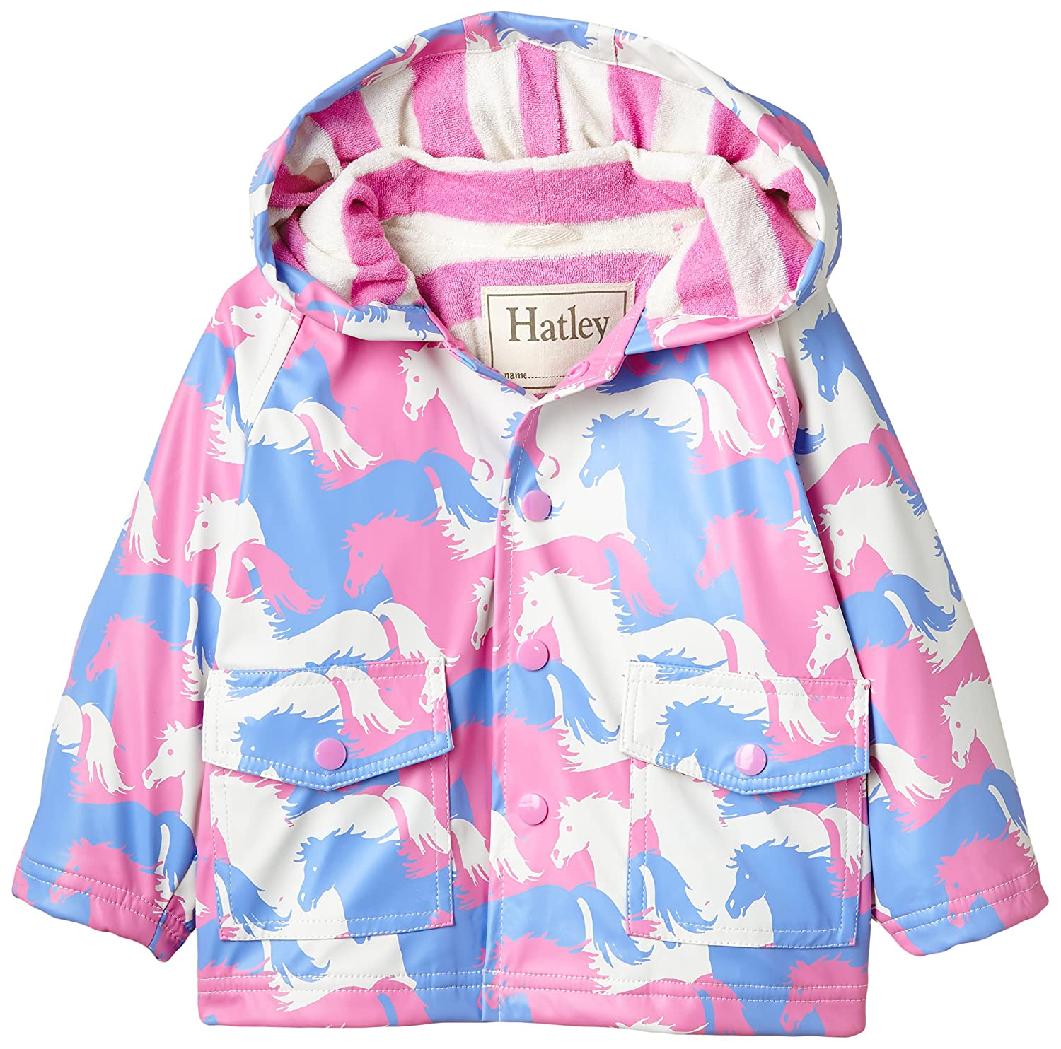 Hatley Baby Girls 0-24m Puzzle Piece Horses Raincoat Pink 12-18 Months RC3FAHO175