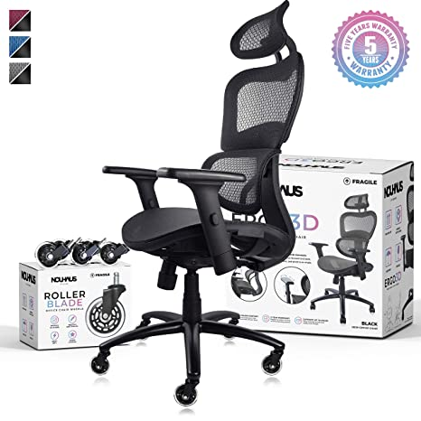 Marvelous Nouhaus Ergo3D Ergonomic Office Chair Rolling Desk Chair With 4D Adjustable Armrest 3D Lumbar Support And Extra Blade Wheels Mesh Computer Chair Download Free Architecture Designs Estepponolmadebymaigaardcom