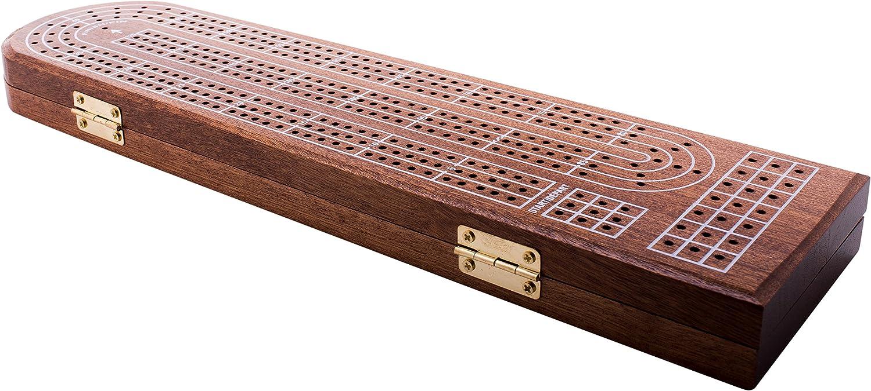 Juego de tablas de cribbage premium de GrowUpSmart con tablero de cribbage clásico de 3 vías, tablero de cartas de juego, clavijas de metal de fácil agarre, para niños y adultos, juego