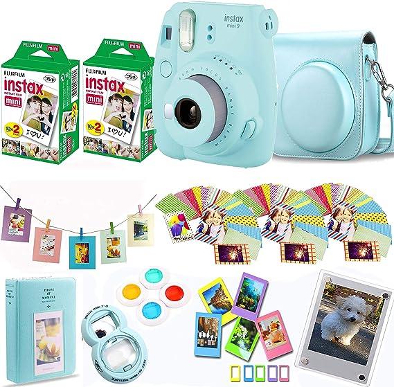 Fujifilm Instax Mini 9 Instant Camera + Fuji Instax Film 40 Shots + Protective Case + Magnetic Acrylic Frame + Album, Frames, Filter Set & Selfie Lens ...