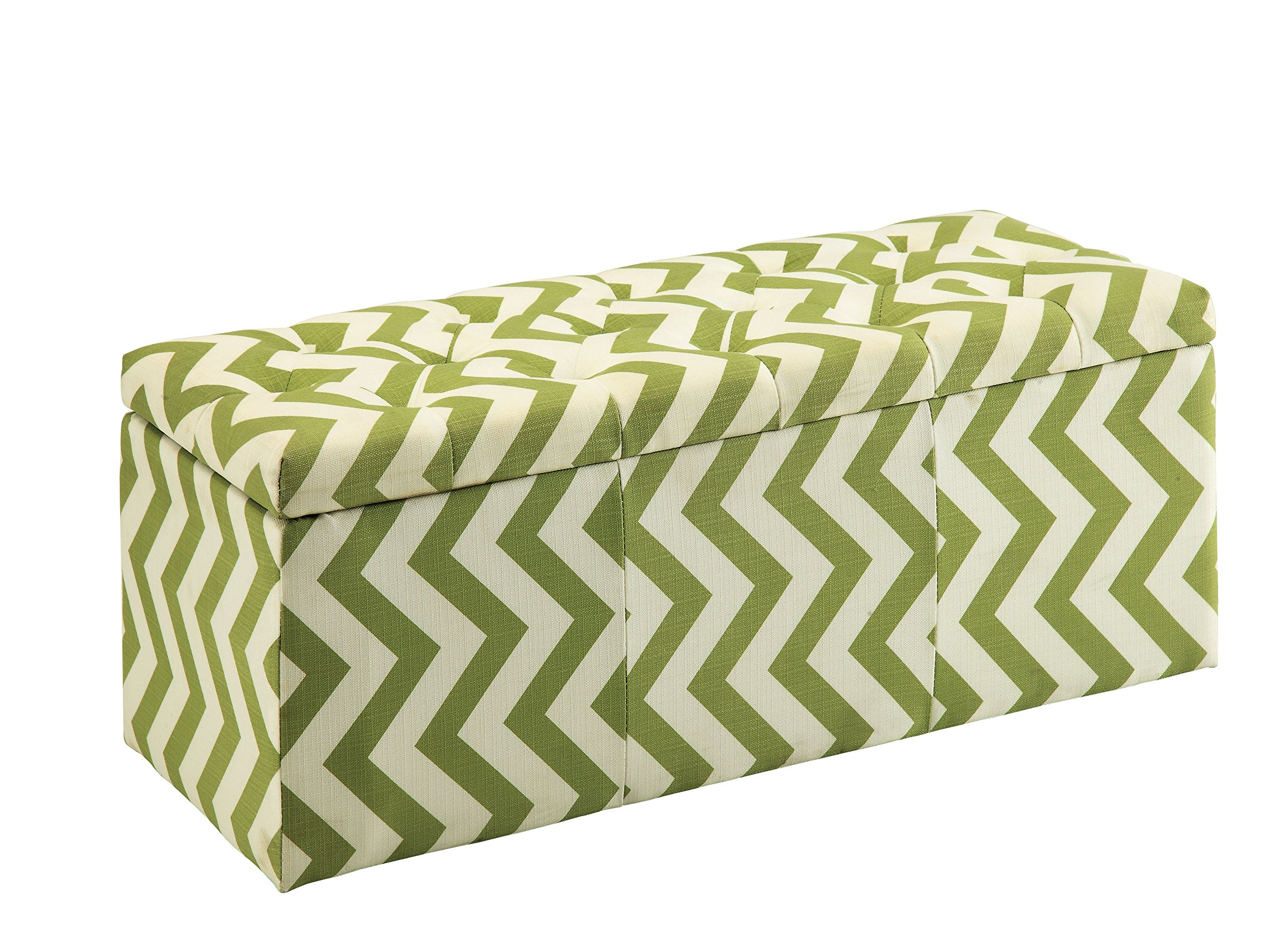 HOMES: Inside + Out IDF-BN6031GR Willy Chevron Storage Ottoman, Green