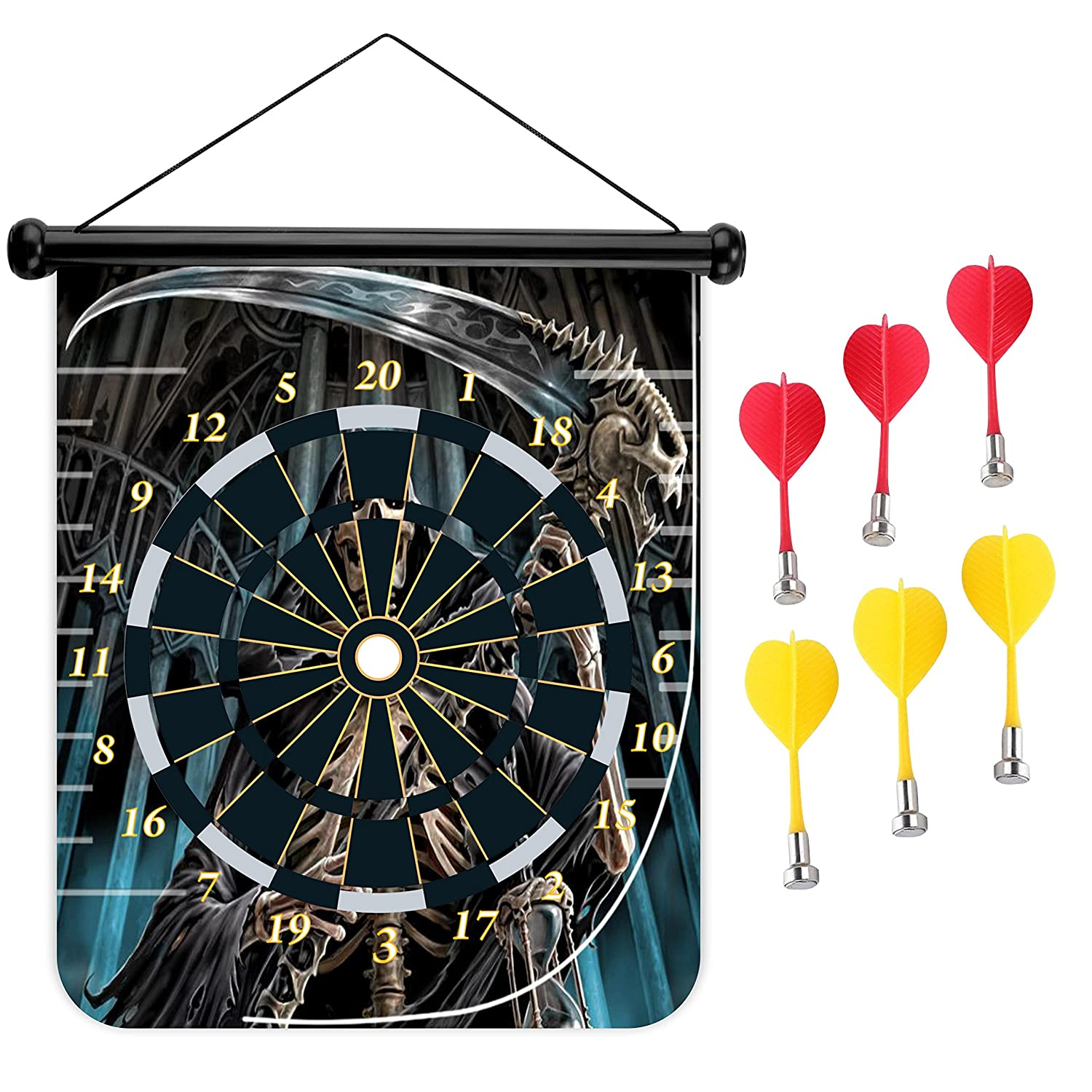 15インチMagnetic Dart Board Double Sided Hanging Dart Board Set and Bullseyeゲーム。Death B078Y2WRSJ