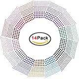 D-buy 3 Sizes, 14 Colors, Multicolor Self-Adhesive Rhinestone Sticker Sheet, 14 Sheets, 2408 Pcs