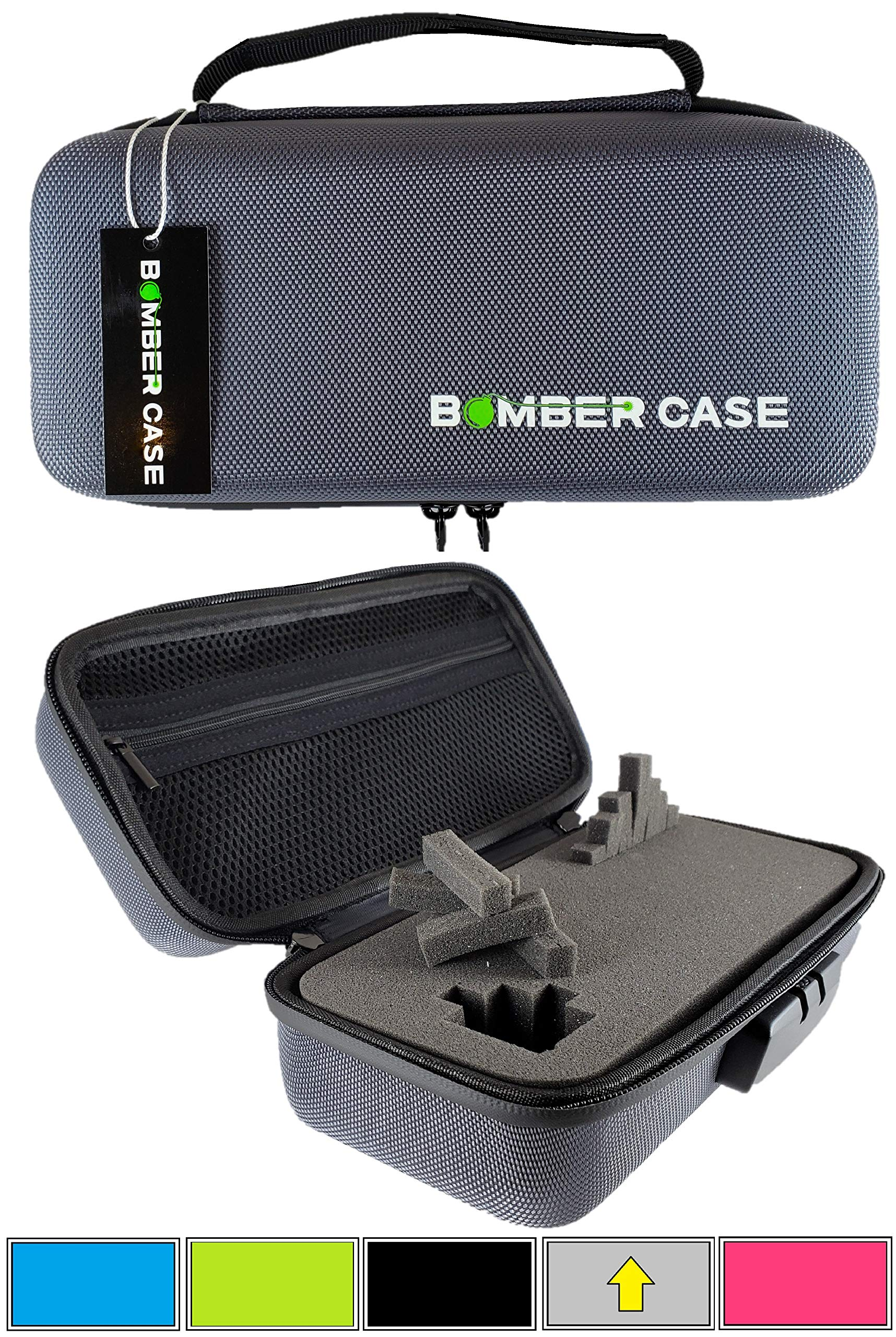 BOMBER CASE - Stash Case - Locking - Smell Proof - Customizable Foam Interior - Fits up to 9.5'' x 4'' - Soft Sides with Odor Proof Zipper and Combination Lock - No Smell - Gray by BOMBER CASE