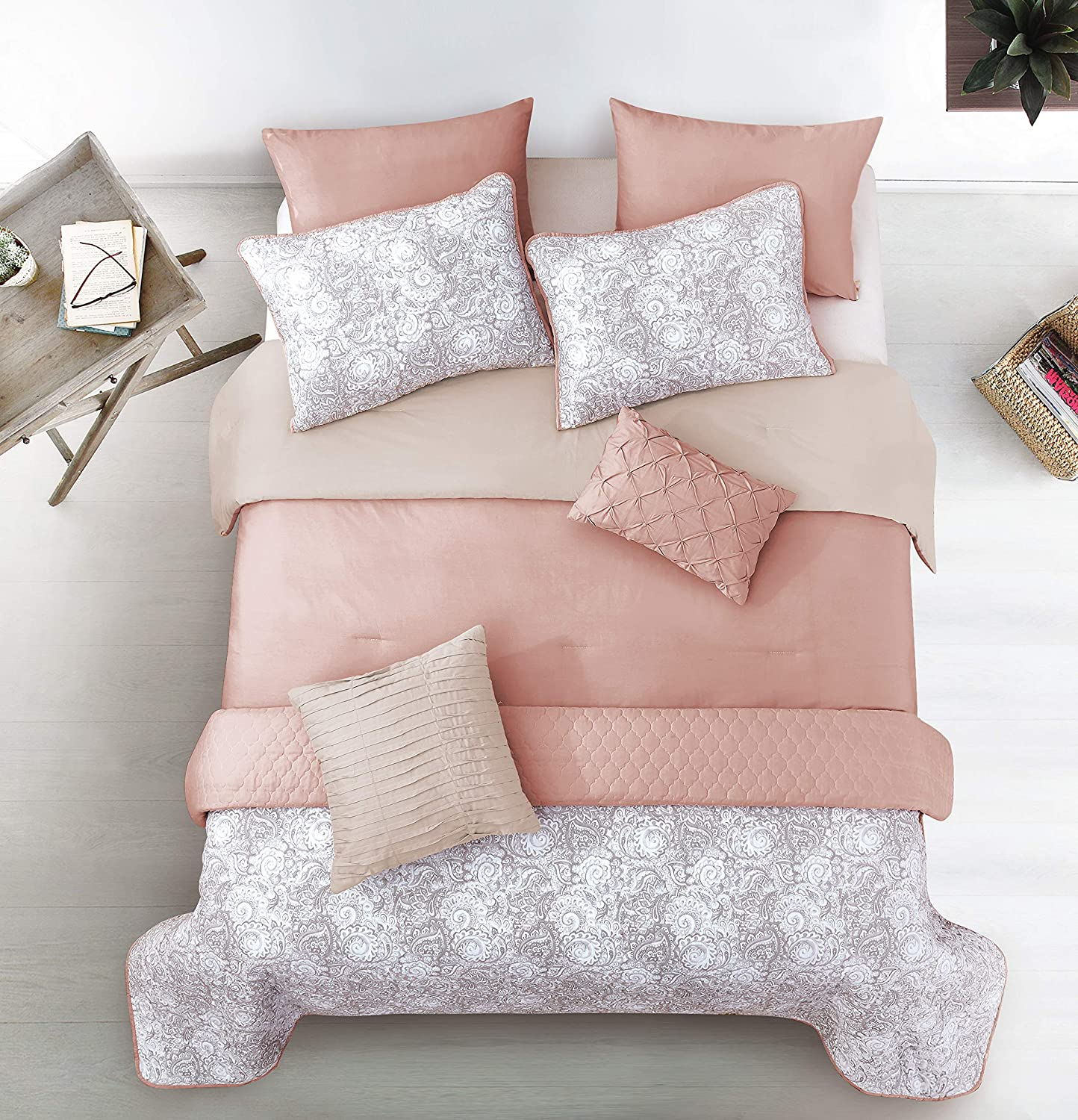 Riverbrook Home Layered Solid Comforter and Coverlet Set, Full/Queen, 8-Piece, Katie - Blush Taupe