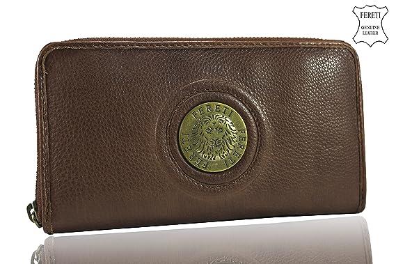 FERETI Cartera Marrón Cognac cuero Monedero billetera Tarjetas unisex León 3D: Amazon.es: Equipaje