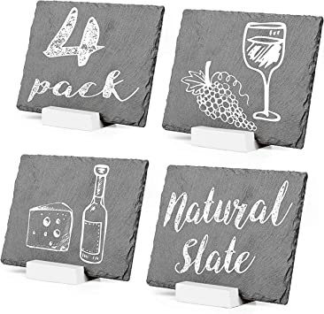 Amazon Com Mini Chalkboard Signs For Tables 4 Pack Rustic 5x6 Inch Small Slate Tabletop Chalk Boards With White Wood Stands Set Office Products
