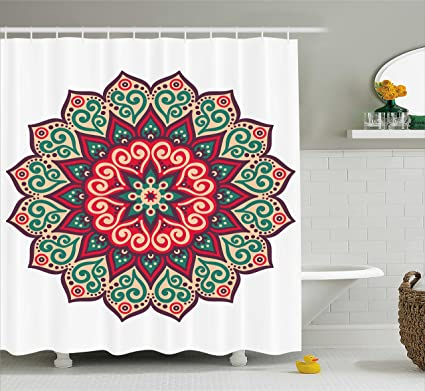 Ambesonne Mandala Shower Curtain Decor, Retro Henna Design Eastern Drawing  Round Print, Polyester Fabric