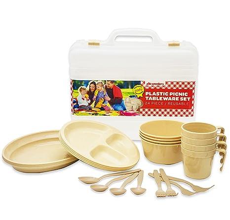 Wealers Plastic Reusable Dishes Set Outdoor Dinner Tableware Set 24 Piece Plates Cups Bowls  sc 1 st  Amazon.com & Amazon.com : Wealers Plastic Reusable Dishes Set Outdoor Dinner ...