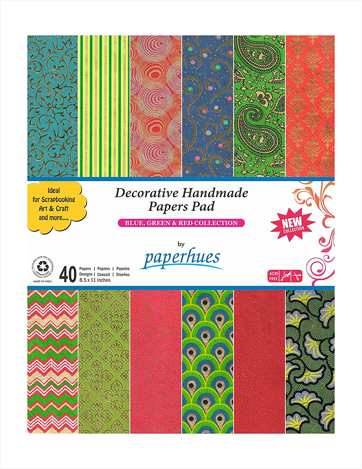 Paperhues Blue-Green-Red Celebration Collection Handmade Scrapbook Papers 8.5x11