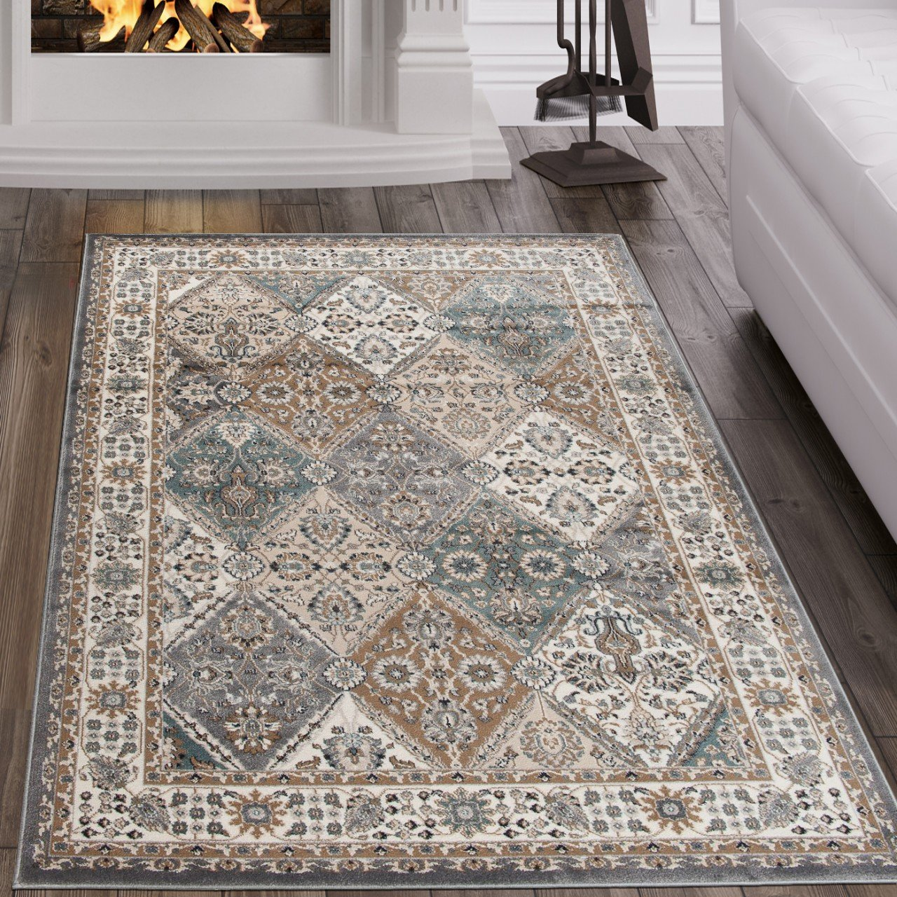 Tapiso Dubai Teppich Klassisch Gemustert Orientalisch Kurzflor in Beige mit Geometrisch Ornament Floral Mosaik Muster Ideal für Wohnzimmer ÖKOTEX 140 x 200 cm B07DJ9KYJ1 Teppiche